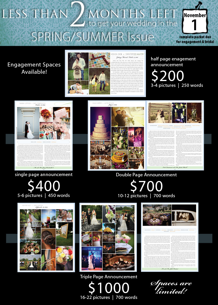 Announce your wedding or engagement in Brides of North Texas magazine!