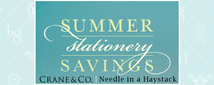 Needle and a Haystack and Crane and Co summer wedding invitations promotion Dallas Texas