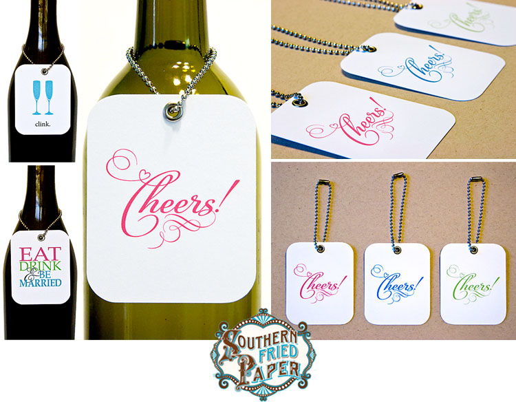 Southern Fried Paper custom wine tags - Dallas wedding invitations