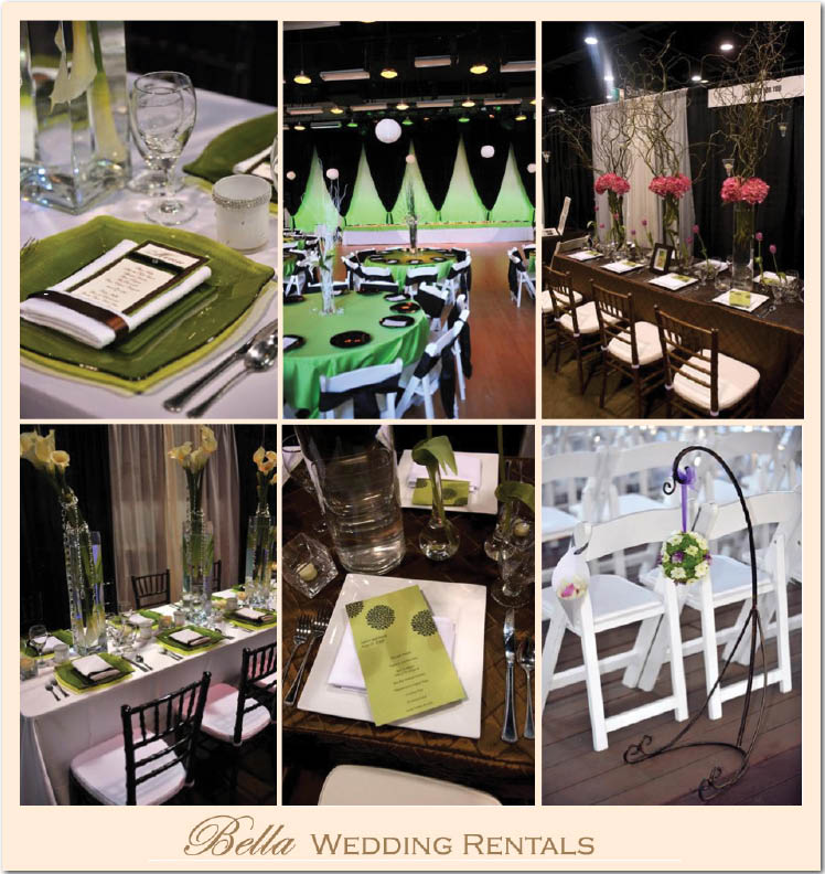Bella Wedding Rentals is available for wedding and reception rentals and set up in Dallas/Fort Worth