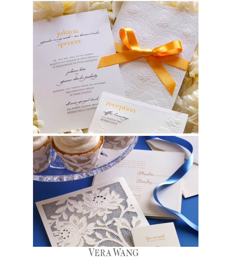 Vera Wang wedding invitations available at Needle in a Haystack and Write Selection in Dallas and Paper and Chocolate