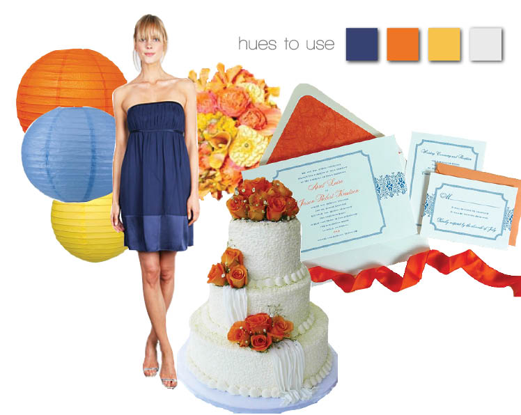 Blue and orange wedding color combinations for Texas brides