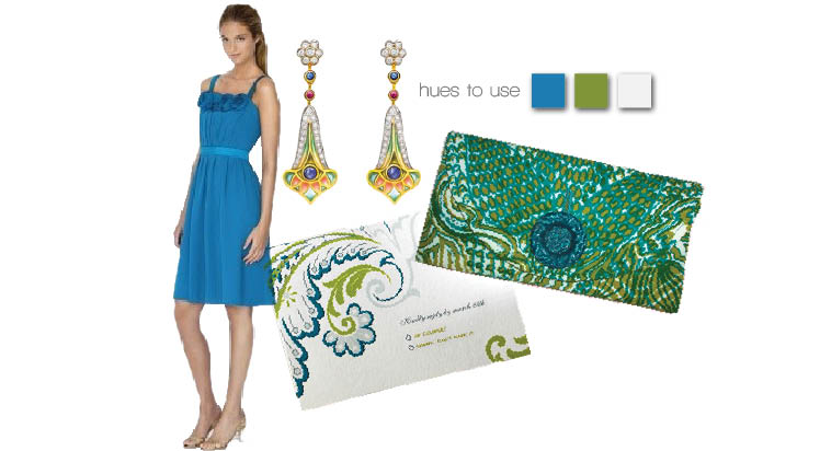 Peacock wedding inspiration board in blue and green