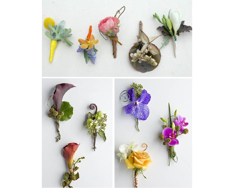 Unique boutonnieres by Branching Out Floral & Event Design and Freesia Dallas in Dallas, Texas