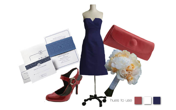 Navy blue, white and red bridesmaid look with dress available from Bridal Boutique in Lewisville