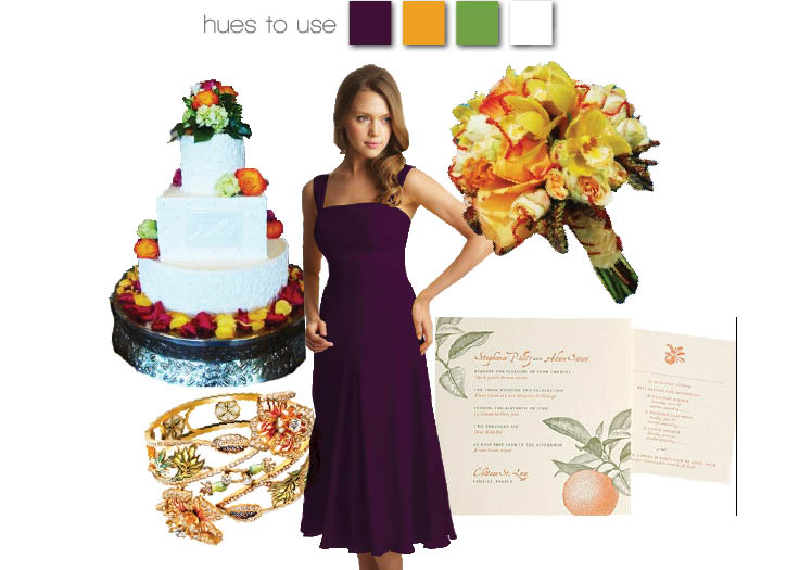 Tropic-inspired shades of purple, green and orange for a summer wedding in Texas