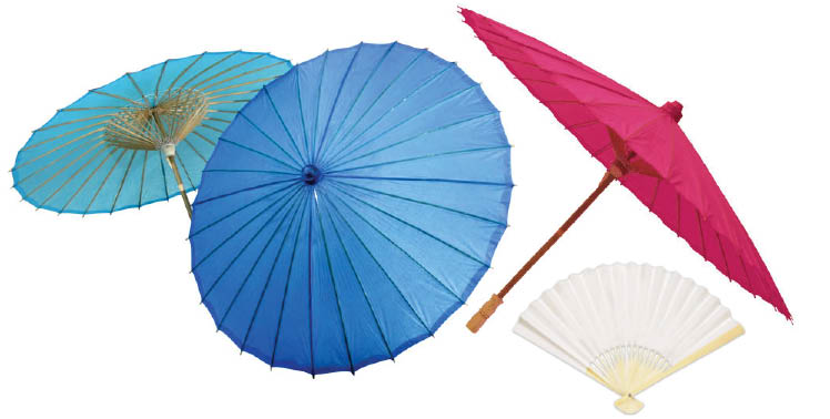 Parasols and fans provide a way to keep cool and make great wedding favors and gifts for your wedding party