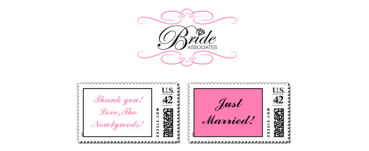 Bride associates postage stamps made especially for wedding invitations, thank you cards and more.
