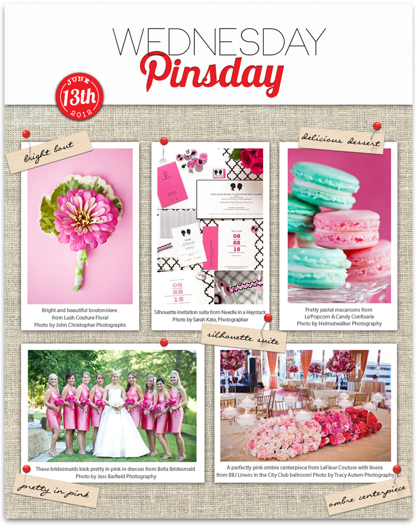 Brides of North Texas Wednesday Pinsday featuring pink wedding details