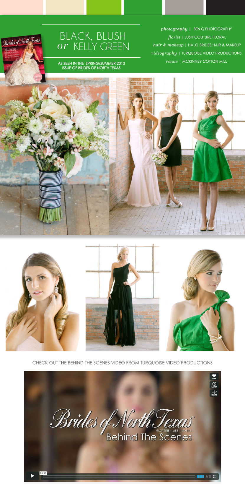 Pretty pairings black blush or kelly green bridesmaid dresses how adorable is this pretty preppy palette with black blush or kelly green we love the contrasting color pop of the kelly green and the fresh preppy feel ombrellifo Gallery