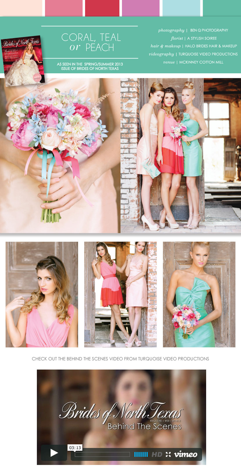 Pretty pairings coral teal or peach bridesmaid dresses ombrellifo Image collections