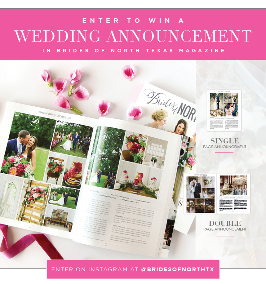 enter to win a free wedding announcement in the brides of north texas