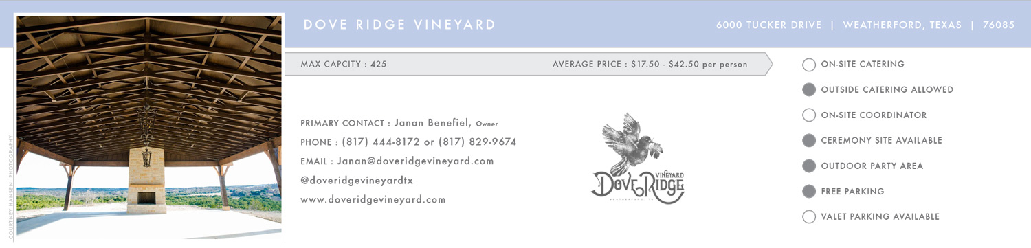 Dove Ridge Vineyard Sample Luxe Locations Listing